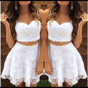 Lace crop top and skirt suit